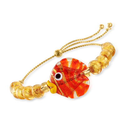 Italian Multicolored Murano Glass Fish and Beaded Bolo Bracelet with 18kt Gold Over Sterling