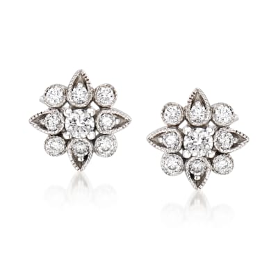 Gabriel Designs .25 ct. t.w. Diamond Flower Stud Earrings in 14kt White Gold