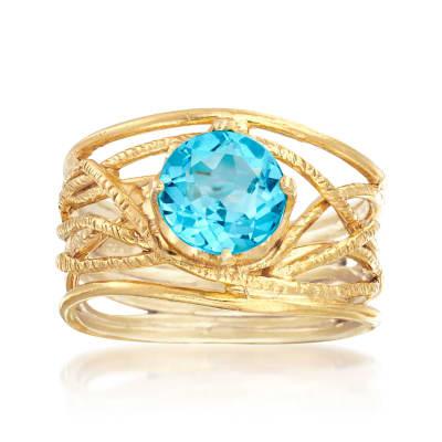 2.20 Carat Sky Blue Topaz Textured Openwork Ring in 18kt Gold Over Sterling