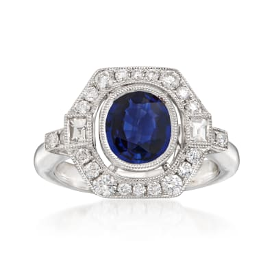 1.70 Carat Sapphire and .60 ct. t.w. Diamond Frame Ring in 18kt White Gold