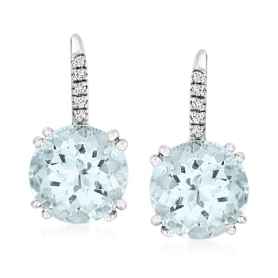 6.00 ct. t.w. Aquamarine Drop Earrings with Diamond Accents in 14kt White Gold