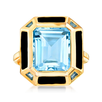 7.20 ct. t.w. Sky and Swiss Blue Topaz Ring with Black Enamel in 18kt Gold Over Sterling