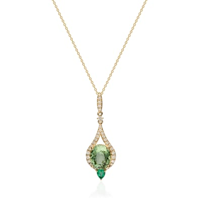 6.00 Carat Green Tourmaline and .20 Carat Emerald Drop Necklace with .59 ct. t.w. Diamonds in 14kt Yellow Gold