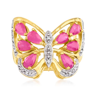 1.89 ct. t.w. Ruby Butterfly Ring with Diamond Accents in 18kt Gold Over Sterling
