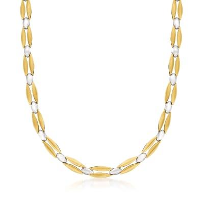 C. 1990 Vintage 14kt Two-Tone Gold Link Necklace