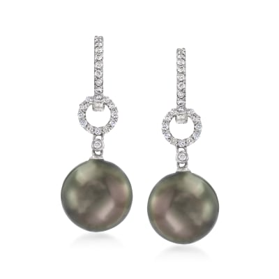 11-12mm Black Cultured Tahitian Pearl and .28 ct. t.w. Diamond Drop Earrings in 18kt White Gold