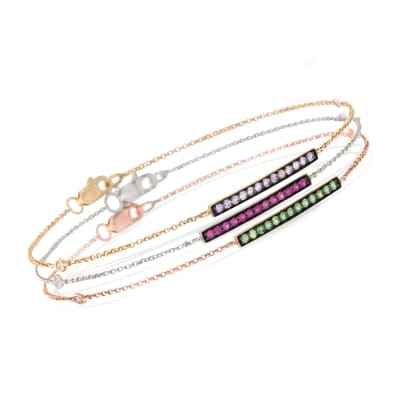 .60 ct. t.w. Multi-Stone Jewelry Set: Three Bar Bracelets with Diamond Accents in 14kt Tri-Colored Gold