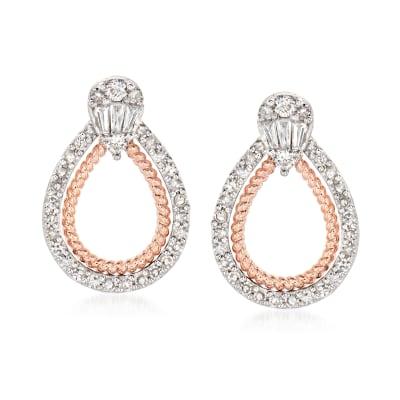 .50 ct. t.w. Diamond Doorknocker Earrings in 14kt Two-Tone Gold