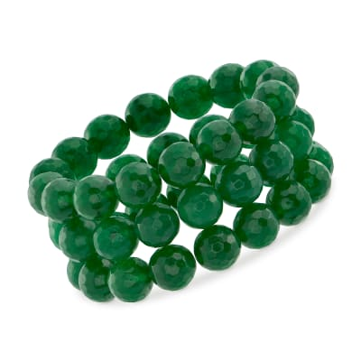 12mm Jade Bead Set: Three Stretch Bracelets