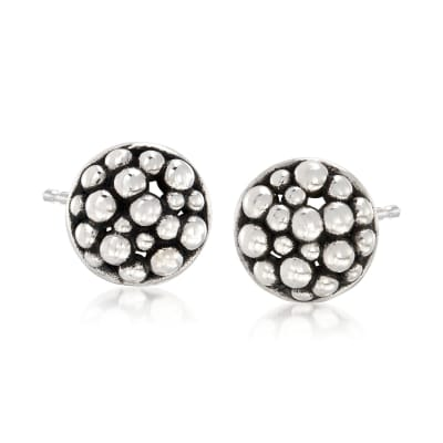 "Zina Sterling Silver ""Raindrop"" Round Stud Earrings"