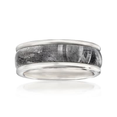 Men's 8mm Tungsten Carbide and Meteorite Center Wedding Ring
