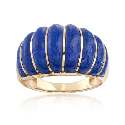 Carved Lapis Shrimp Ring in 14kt Yellow Gold