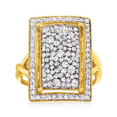 1.05 ct. t.w. Diamond Rectangular Ring in 14kt Yellow Gold