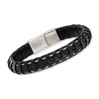 ALOR Men's Black Leather and Stainless Steel Bracelet with Magnetic Clasp