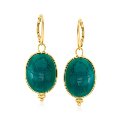 Green Chalcedony Scarab Drop Earrings in 18kt Gold Over Sterling