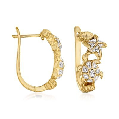 .10 ct. t.w. Diamond Sea Life Hoop Earrings in 18kt Gold Over Sterling