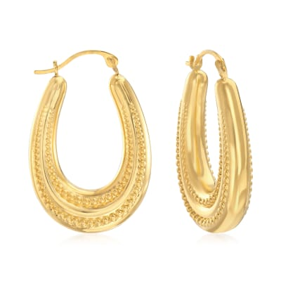 Andiamo 14kt Yellow Gold Over Resin Beaded Oval Hoop Earrings