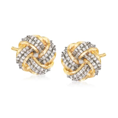 .25 ct. t.w. Diamond Love Knot Earrings in 14kt Yellow Gold
