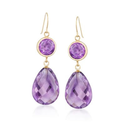 19.00 ct. t.w. Amethyst Drop Earrings in 14kt Yellow Gold