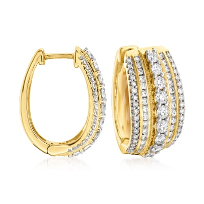 2.00 ct. t.w. Diamond Multi-Row Hoop Earrings in 14kt Yellow Gold