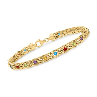 3.40 ct. t.w. Multi-Stone Byzantine Bracelet in 14kt Yellow Gold