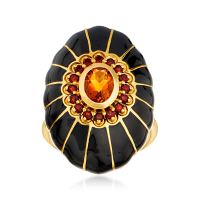 1.10 Carat Madeira Citrine and .50 ct. t.w. Garnet Ring with Black Enamel in 18kt Gold Over Sterling