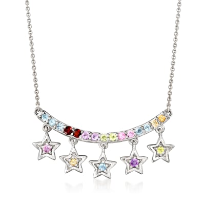 .47 ct. t.w. Multi-Gemstone Star Curved Bar Necklace in Sterling Silver