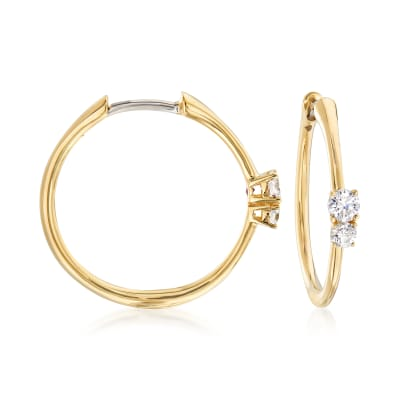 Roberto Coin .35 ct. t.w. Diamond Hoop Earrings in 18kt Yellow Gold