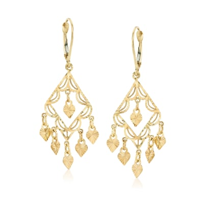 14kt Yellow Gold Filigree Chandelier Earrings