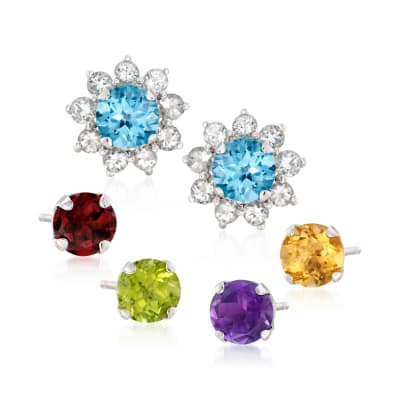 9.70 ct. t.w. Multi-Stone Jewelry Set: Five Pairs of Earrings with Earrings Jackets in Sterling Silver