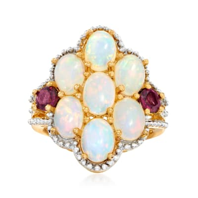 Opal and .70 ct. t.w. Rhodolite Garnet Ring in 18kt Gold Over Sterling