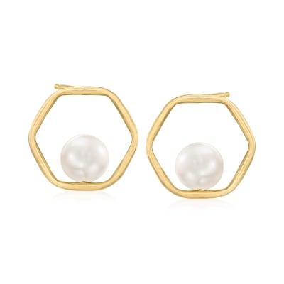 8-9mm Cultured Pearl Open-Space Hexagonal Earrings in 14kt Yellow Gold