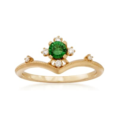 .26 Carat Tsavorite Ring with Diamond Accents in 18kt Yellow Gold