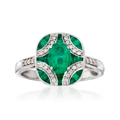 1.50 ct. t.w. Emerald and .13 ct. t.w. Diamond Ring in 14kt White Gold