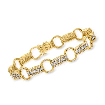 1.50 ct. t.w. Diamond Circle and Bar Bracelet in 18kt Gold Over Sterling