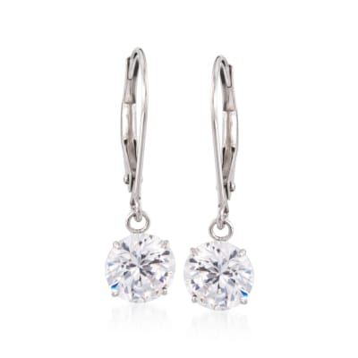 2.00 ct. t.w. CZ Drop Earrings in 14kt White Gold
