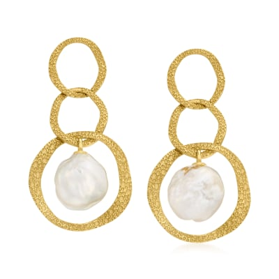 9.5-10.5mm Cultured Pearl Oval-Link Drop Earrings in 18kt Gold Over Sterling