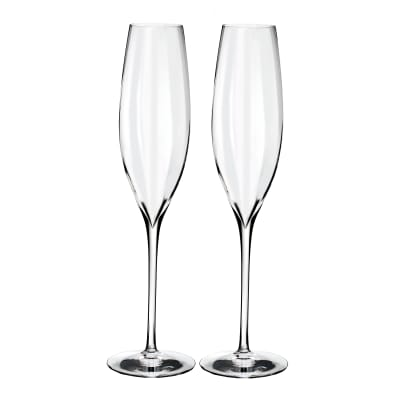 """Waterford Crystal """"Elegance Optic"""" Set of Two Champagne Flutes"""