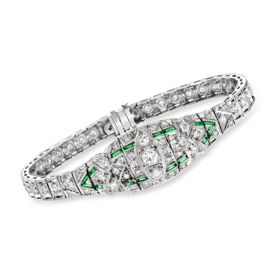 C. 1950 Vintage 2.55 ct. t.w. Diamond and .35 ct. t.w. Synthetic Emerald Bracelet in Platinum