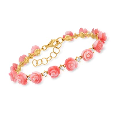 Pink Coral and 1.40 ct. t.w. White Topaz Rose Bracelet in 18kt Gold Over Sterling