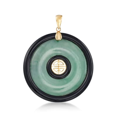 "Jade and Black Agate ""Longevity"" Chinese Shou Symbol Circle Pendant in 14kt Yellow Gold"