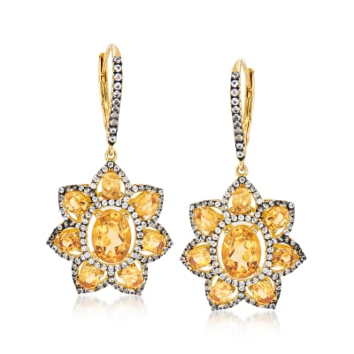 4.60 ct. t.w. Citrine and 1.40 ct. t.w. White Topaz Flower Drop Earrings in 18kt Gold Over Sterling