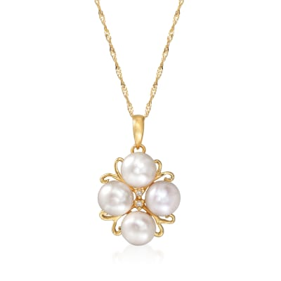 6-6.5mm Cultured Pearl Pendant Necklace in 14kt Yellow Gold