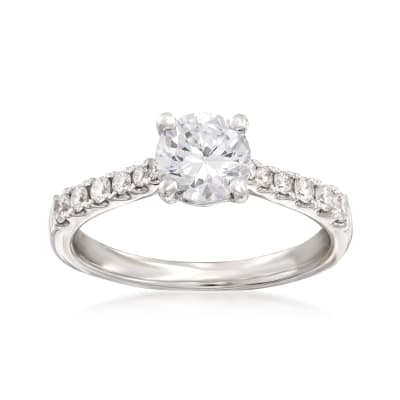 .27 ct. t.w. Diamond Engagement Ring Setting in 14kt White Gold