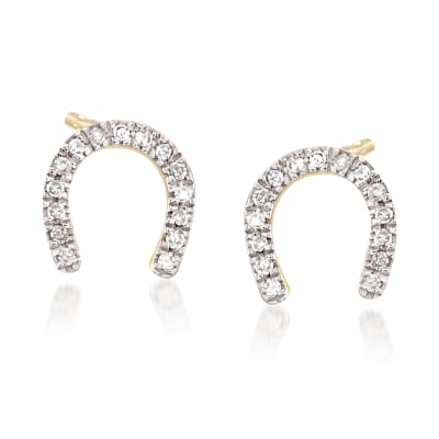 Horseshoe Earrings with Diamond Accents in 14kt Yellow Gold