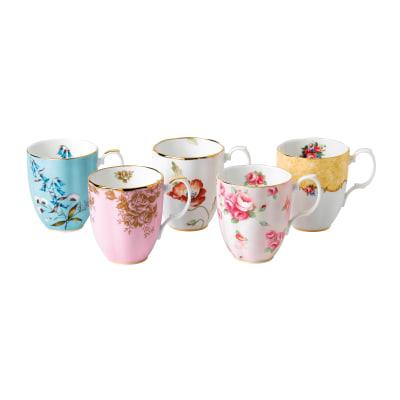 """Royal Albert """"100 Years: 1950-1990"""" Set of 5 Mugs"""