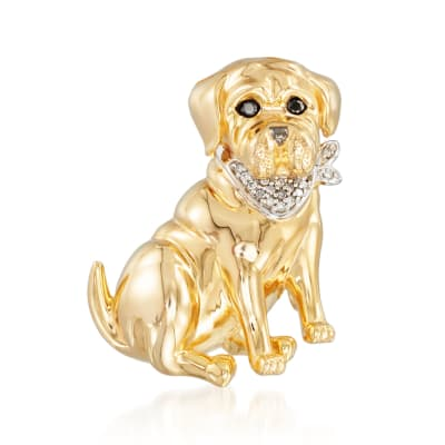 18kt Gold Over Sterling Dog Pin Pendant with Diamond Accents and Black Spinels