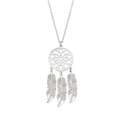 Italian Sterling Silver Dreamcatcher Necklace