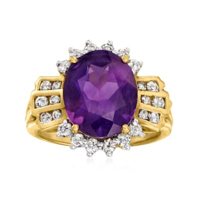 C. 1980 Vintage 4.35 Carat Amethyst and .60 ct. t.w. Diamond Ring in 14kt Yellow Gold