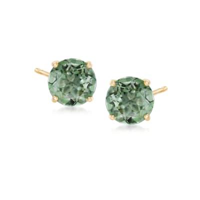 """3.00 ct. t.w. """"Emerald"""" Envy Topaz Post Earrings in 14kt Yellow Gold"""